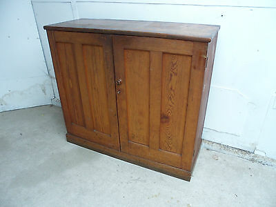 A Vintage Antique Pine Fitted Large 2 Door Solicitors Cupboard