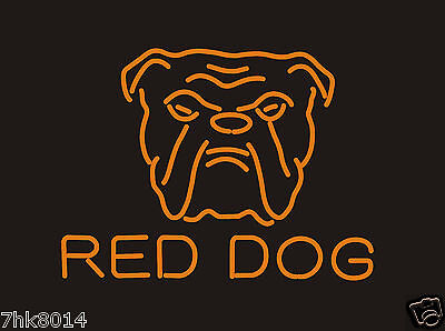 """New Red Dog Beer Real Glass Neon Light Beer Lager Bar Sign 17""""×14"""""""