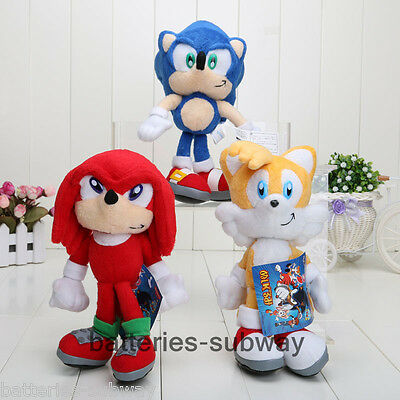 "New Sonic The Hedgehog Sonic Knuckles Tails Stuffed Plush Soft Doll Toy 9"" Gift"