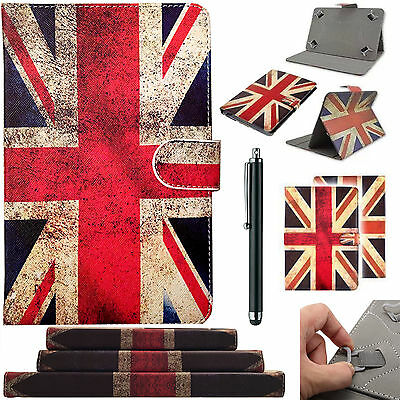 "Union Jack Universal TAB Leather Folding Stand Folio Case Cover For 7"",8"",9"",10"""