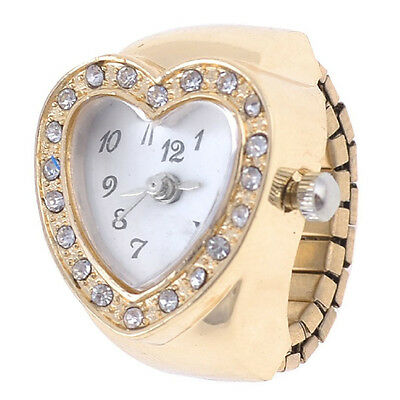 Copper Tone Heart Shape Housing Elastic Band Finger Ring Watch for Women AD