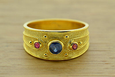 Multi Stone Silver Ring Sapphire Ruby Etruscan Gold Plated Byzantine 3 Stone