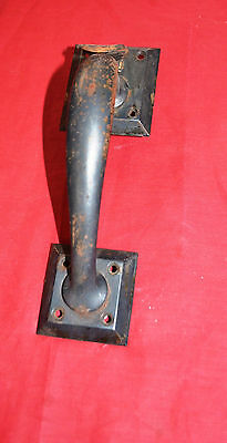 Reclaimed Vintage Industrial NOS Steel Door Pull With thumb latch - As found