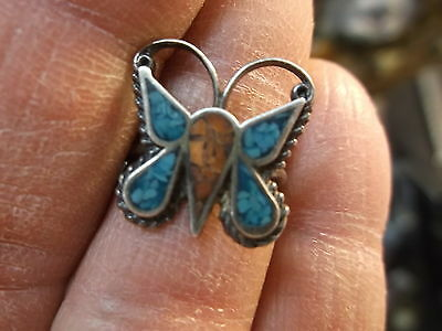 #140 of 245, VTG LADIES STERLING SILVER, CORAL & TURQUOISE BUTTERFLY RING, 5.25