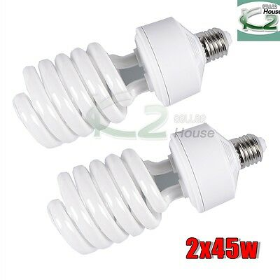 2x45W 5500K Day Light Bulbs Photo Studio Compact Fluorescent Lamp Energy Saving