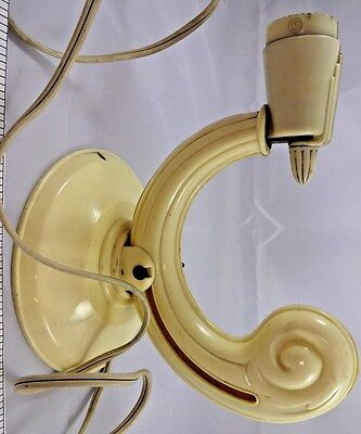 Antique Art Deco Wall Sconce Curved Light Fixture Cream Colored OOAK Retro