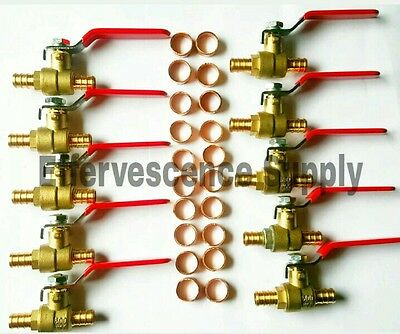 "(10) 1/2"" PEX Brass Ball Valve, Full Port W/ (20) 1/2"" Copper Crimp Rings"