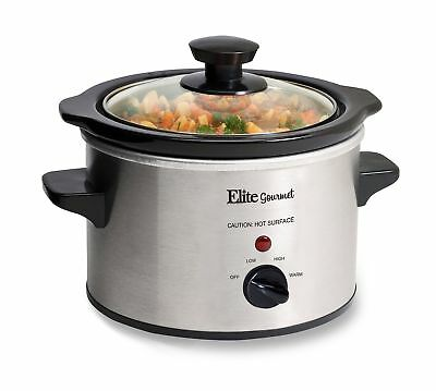 Elite Gourmet MST-250XS 1.5 Quart Slow Cooker Silver (Stainless Steel Finish)
