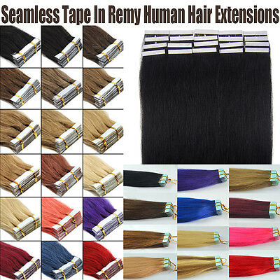 100% Real Human Hair Extensions Seamless Tape In Skin Weft Hair 16-24Inch 20Pcs