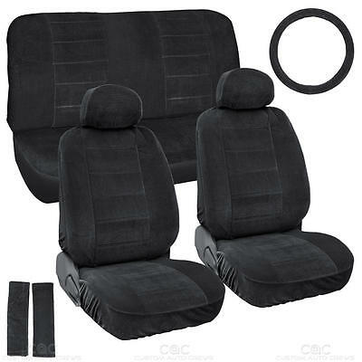 Black Full Cloth Encore style 3mm Premium Car Seat Covers Low Back 9 pc