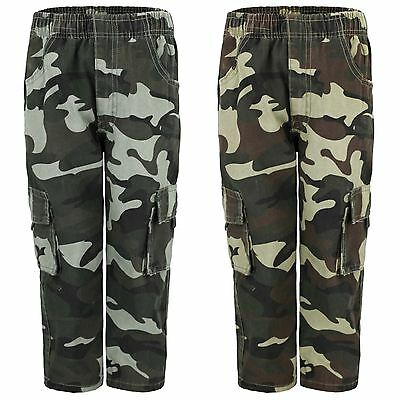 Kids Multipocket Camouflage Trousers Boys Army Print Cargo Combat Pants Age 4-14