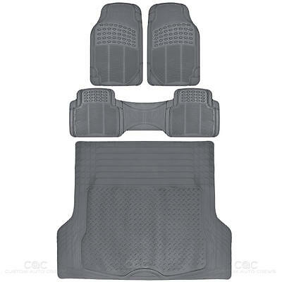 Weather-Free Odorless Semi Custom Fit Floor Mats Car Truck w/ Cargo Liner Gray
