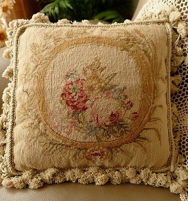"14"" Vtg Shabby Aubusson Design Rose Floral Needlepoint Pillow Cushion Cover"
