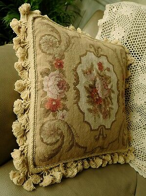 """16"""" Vtg Shabby French Country Aubusson Design Needlepoint Pillow Cushion Cover"""