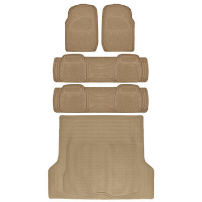 SUV Floor Mat for 3 Row Car All Weather Beige Trimmable Semi Custom w/ Trunk Mat