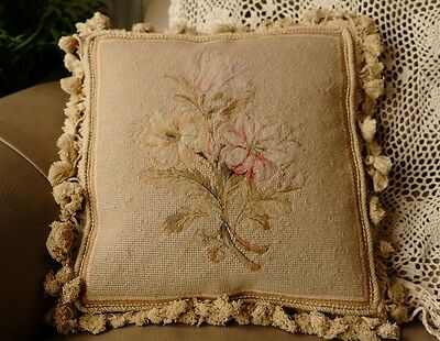 "14"" Vintage Hand Stitched Shabby Oleander Floral Needlepoint Pillow Cushion"