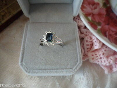 Antique Vintage 18K white Gold Dress Ring blue and white stones ring size P