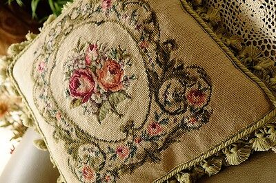 "16"" Chic Shabby Vivid Roses Bronze Scroll Handmade Needlepoint Pillow Sham"