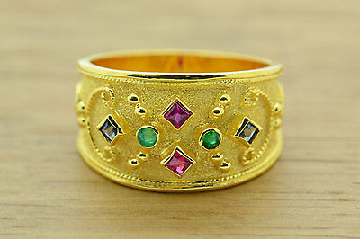 Byzantine Ring, Etruscan Ring, Sterling Silver, 22K Gold Plated, Greek Jewelry