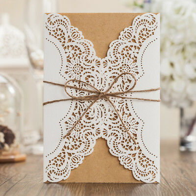 Personalized Rustic Lace Handmade Wedding Invitations Cards Free Envelopes Seals