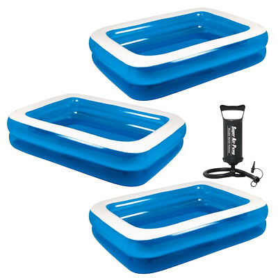 Rectangular Inflatable Swimming Paddling Family Pool In 3 Sizes With Free Pump