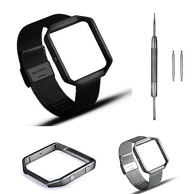 Milanese Stainless Steel Strap Wrist watch band Metal Frame For Fitbit Blaze
