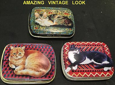 LOT of 3 Metal CAT Tin FANCY Pill Storage CUTE Containers PET LOVERS Candy Cases