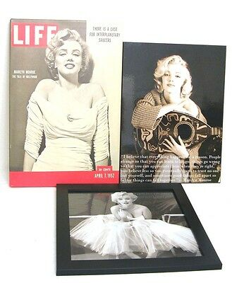 Marilyn Monroe Framed Art Print Wall Decor Life Magazine/Tutu Pic/Guaitar Quote