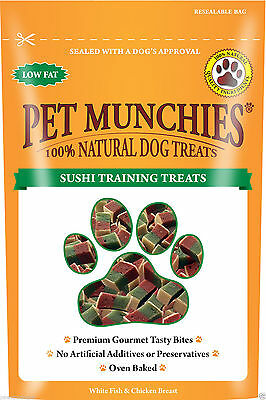 Pet Munchies Sushi Dog Training Treats 8 x 50g - Oven Baked Low Fat 100% Natural