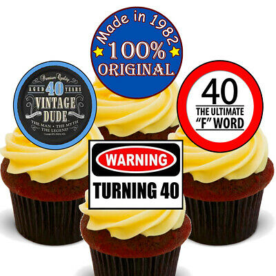40th Birthday Male Edible Cupcake Toppers - Stand-up Boy Cake Decorations, 1977