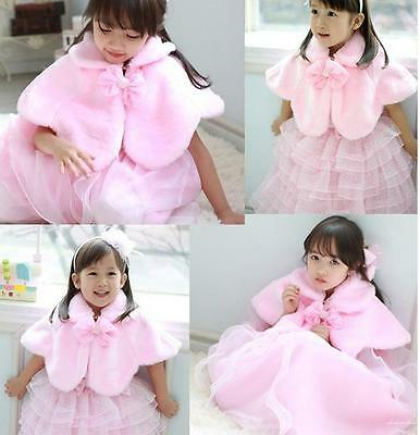 Kids Girls Baby Faux Fur Tippet Wrap Shrug Party Occasion Wedding Princess Cape