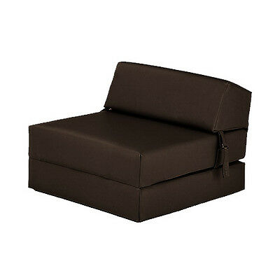 Brown Faux Leather Single Chair Z Bed Guest Fold Up Futon Chairbed Mattress Foam
