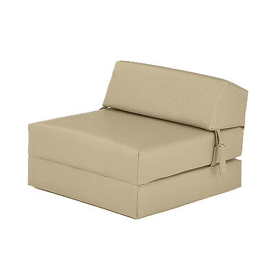 Cream Faux Leather Single Chair Z Bed Guest Fold Up Futon Chairbed Mattress Foam