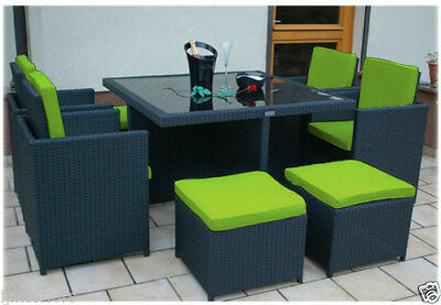 Lime 12pc Cushions Set Only for 8 Seater Rattan Garden Furniture Dining Cube