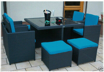 Turquoise 12pc Cushion Set Only for 8 Seater Rattan Garden Furniture Dining Cube