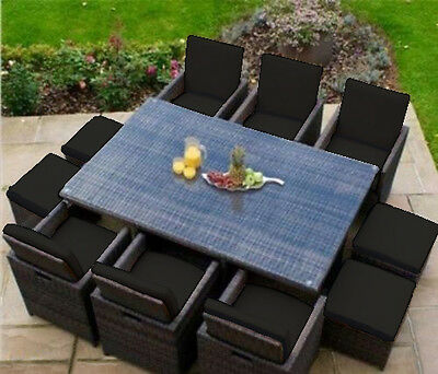 Black 16 Piece Cushion Set for 10 Seater Rattan Garden Furniture Dining Cube