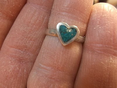 "#171 of 245, NICE VTG LADIES ""HEART"" STERLING SILVER & TURQUOISE RING, SIZE 5.25"