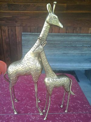 Vintage Pair Tall Solid Brass Giraffe Figurines Momma and Baby