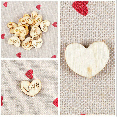 100pcs Wooden Wood Love Heart Pieces Painting DIY Crafts Cardmaking Scrapbooking