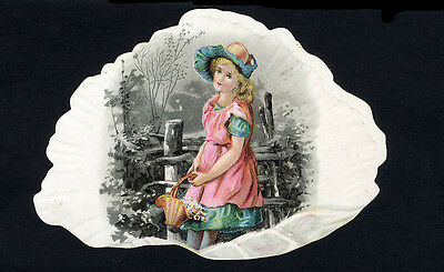 SEASHELL Die Cut with Victorian Girl Inside c. 1880's - Greeting Card