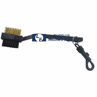 New 2 Sided Brass Wires Nylon Golf Club Brush With Snap Clip Cleaning Kit Tool
