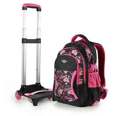 Children Waterproof Nylon Primary SchoolBag Travel Backpack With Wheeled Trolley