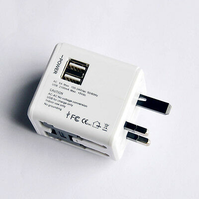 World Travel Universal Plug Power Outlet Adapter Dual USB Charger AU/US/UK/EU