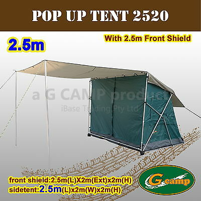 G Camp Pop Up Side Tent 2.5M Awning Camper Trailer 4Wd 4X4 Roof Camping New Rack