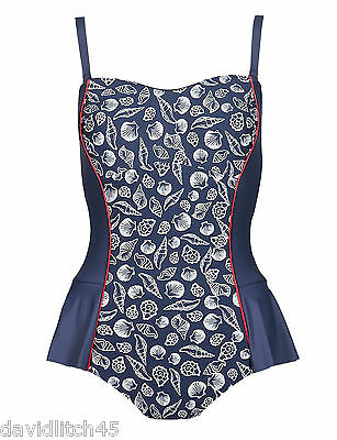 M & S Nautical Bandeau Skirted Swimsuit With Sea Shells Sizes 10/14/16