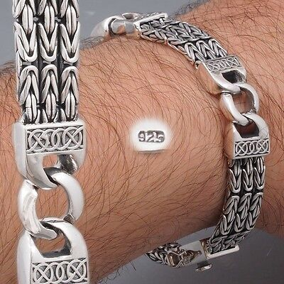 "9"" 49g WOVEN BALI BYZANTINE CURB CHAIN 925 STERLING SOLID SILVER MENS BRACELET"