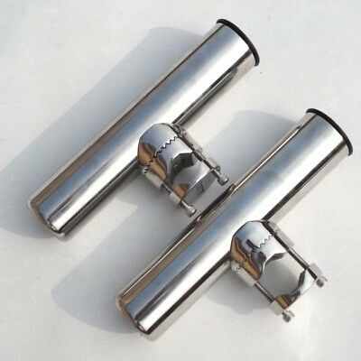 2PCS Stainless Clamp On Rail Mount Rod Holder for Rails 20mm to 25mm AU Stock