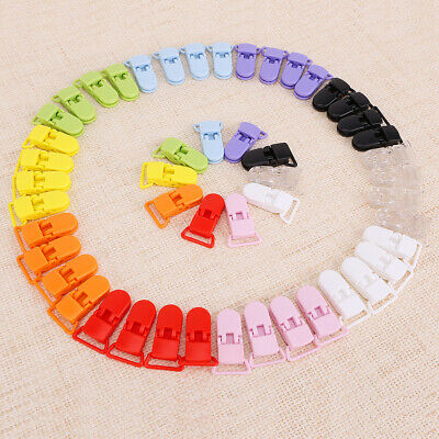 20mm 50pcs 10 Colours KAM Plastic Baby Dummy Clips Pacifier Soothers Holder AU