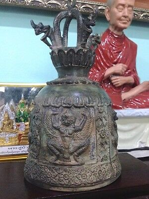 "Bell Antique Style Thailand Only 9"" Wind Home Decor Clapper Temple Buddha Church"