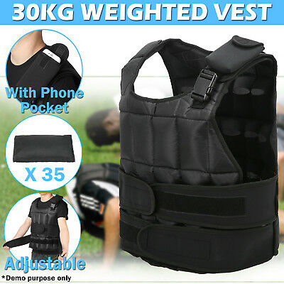 30KG Adjustable Sport Weight Weighted Vest Strength Training Gym Fitness Workout
